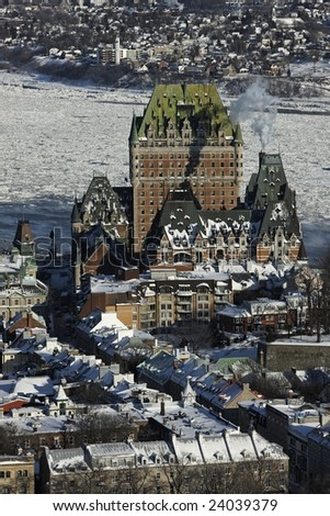 chateau frontenac from the air - stock photo