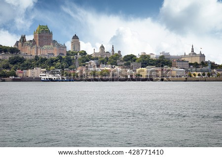 Chateau Frontenac Hotel on August 21, 2010 in Quebec City, Canada.  - stock photo