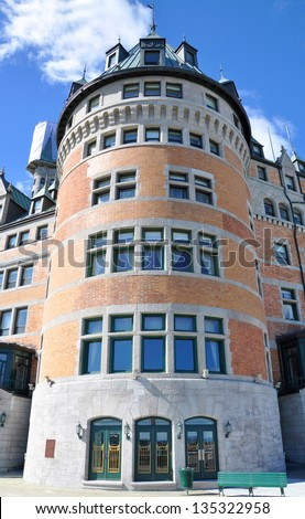 Chateau Frontenac Tower, dominate the skyline of Quebec City, a French-style castle hotel builded in 1893, landmark of Quebec City, Quebec, Canada - stock photo