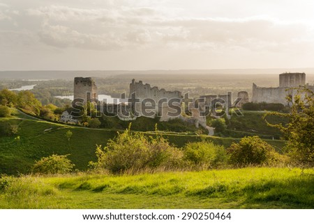 Chateau Gaillard, ruined famous castle of Richard the Lionheart, Normandy - stock photo