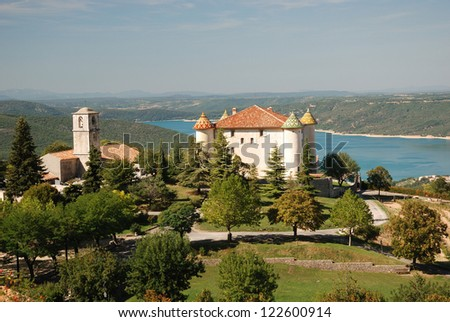 Chateau in Aiguines, Var Departement, Provence, France - stock photo
