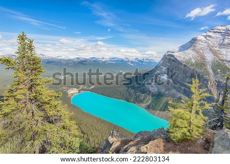 Chateau Lake Louise, view from Big Beehive, Lake Louise Hamlet, Banff National Park, Alberta, Canada - stock photo