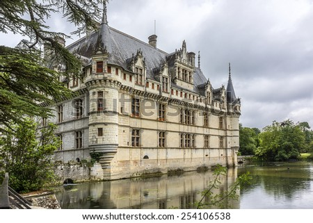 Chateau of Azay-le-Rideau was built from 1515 to 1527 - one of earliest French Renaissance chateaux. Island in Indre River, its foundations rise straight out of water.