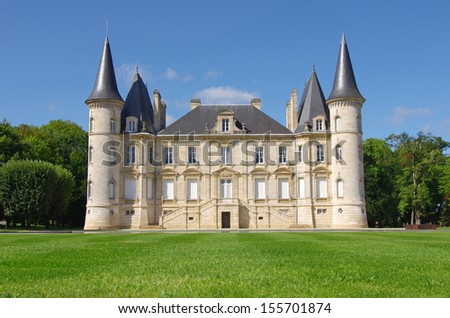 Chateau Pichon Longueville is a famous wine estate of Bordeaux wine. France - stock photo