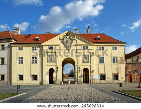 Chateau Valtice, main entrance from the square, Czech Republic, Lednice-Valtice Cultural Landscape is World Heritage Site by UNESCO. It is one of the most impressive baroque residences of Europe - stock photo
