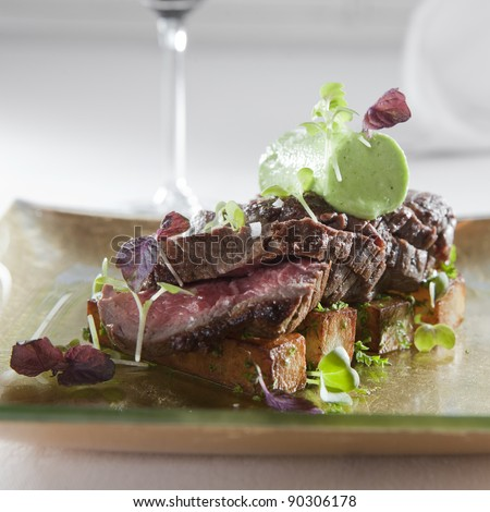 chateaubriand beef streak with potato sticks and pea mousse - stock photo