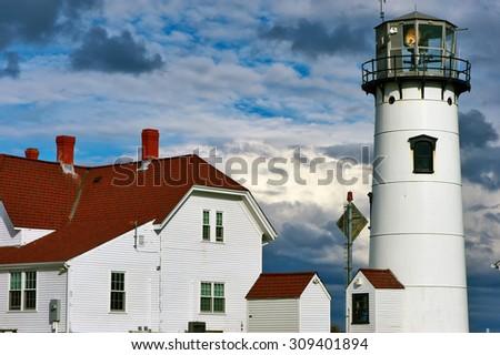 Chatham Lighthouse at Cape Cod, Massachusetts. - stock photo