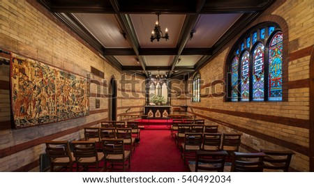 CHATTANOOGA, TENNESSEE - NOVEMBER 10: St. George's Chapel inside the St. Paul's Episcopal Church on 7th Street on November 10, 2016 in Chattanooga, Tennessee
