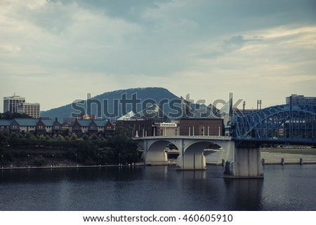 Chattanooga with Lookout Mountain in the background - stock photo