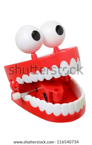 Chattering Teeth on White Background - stock photo