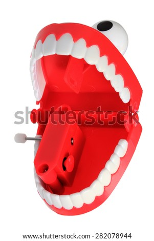 Chattering Teeth Toy on Isolated White Background - stock photo