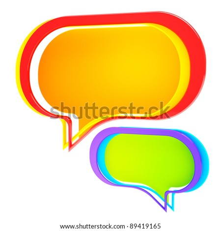 Chatting: colorful text bubble isolated on white