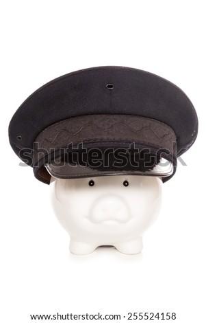 chauffeur piggy bank studio cutout - stock photo