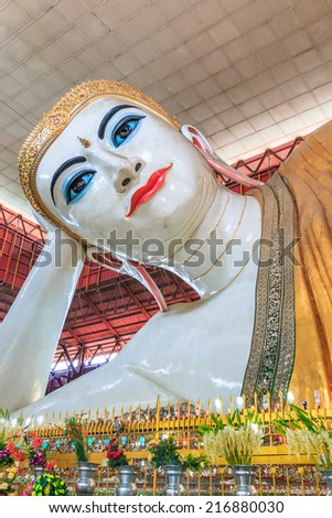 Chauk Htat Gyi Buddha in Yangon, Myanmar (Burma) They are public domain or treasure of Buddhism, no restrict in copy or use  - stock photo