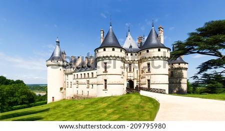 Chaumont-s-Loire, France - June 8, 2014: Chateau Chaumont-s-Loire. View of part of the castle and the garden circumstances. - stock photo