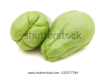 Chayote also known as chow chow and many other names isolated on white. - stock photo