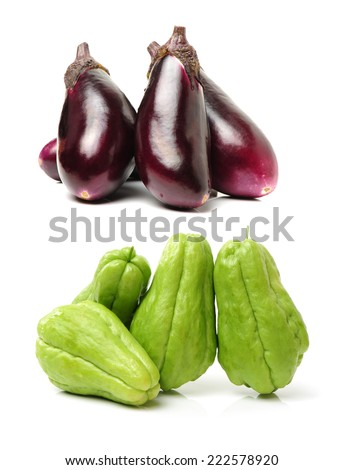 Chayote and eggplant isolated on white background  - stock photo