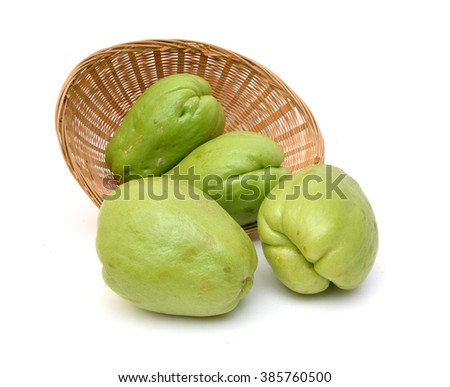Chayote in basket on white background