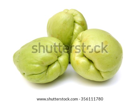 Chayote on white background  - stock photo