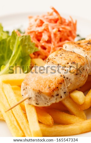 chcken kebab with french fries