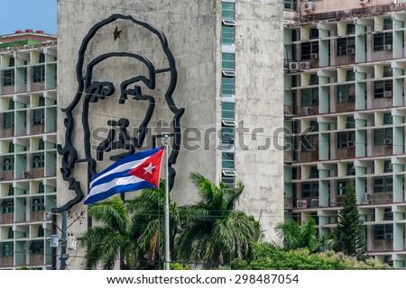 Che Guevara and Cuban flag. La Havana, Cuba. - stock photo