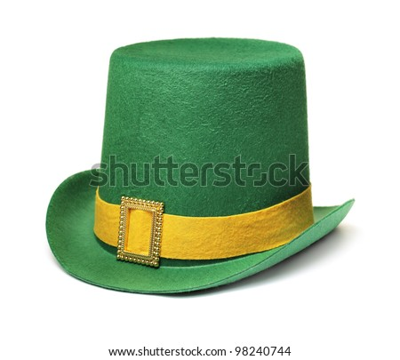 Cheap and cheerful st. patrick's day carnival hat isolated on white with natural shadow. - stock photo