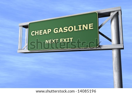 Cheap gasoline - Next exit - stock photo