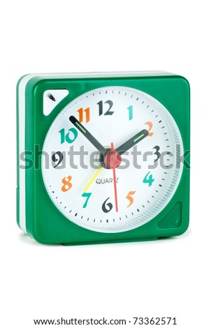 Cheap quartz alarm clock  isolated on the white background