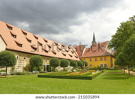 Cheb - Garden of the former Franciscan monastery, which was destroyed in the fire of the 1270th. City center is historically protected as an architectural reserve. Karlovy Vary Region, Czech Republic - stock photo