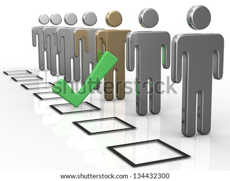 Check a box to choose the best person from people line - stock photo