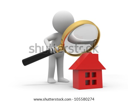check a house/A person with a magnifying glass to check a house - stock photo