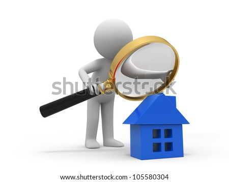 check a house/A person with a magnifying glass to check a house