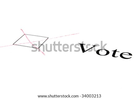 check box with cross isolated von white background - stock photo