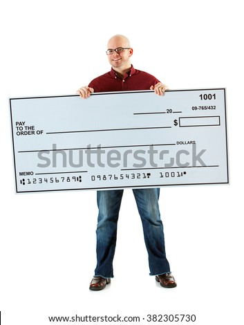 Check: Cheerful Guy With Huge Check - stock photo