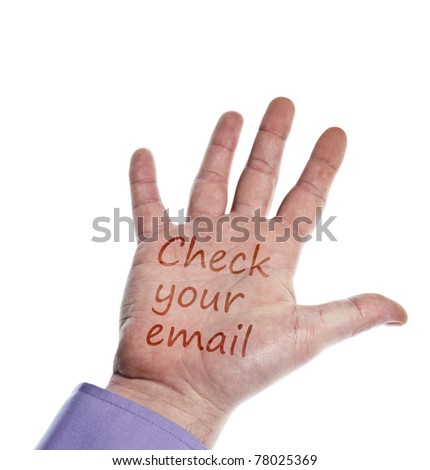 Check email writed on hand