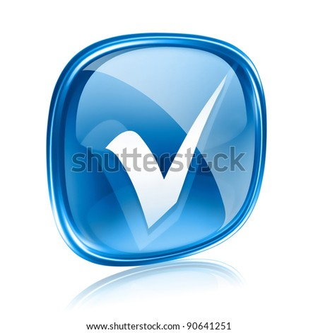 check icon blue glass, isolated on white background. - stock photo