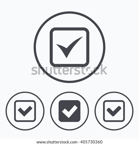 Check icons. Checkbox confirm squares sign symbols. Icons in circles. - stock photo