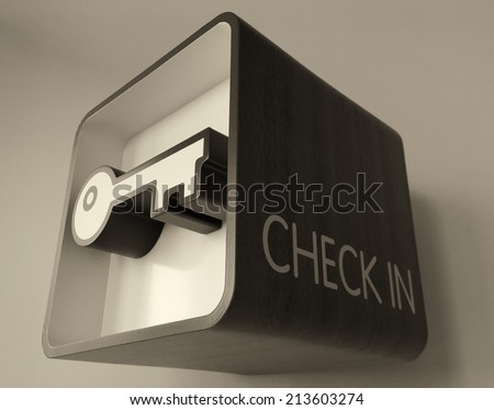Check in sign and key symbol. - stock photo