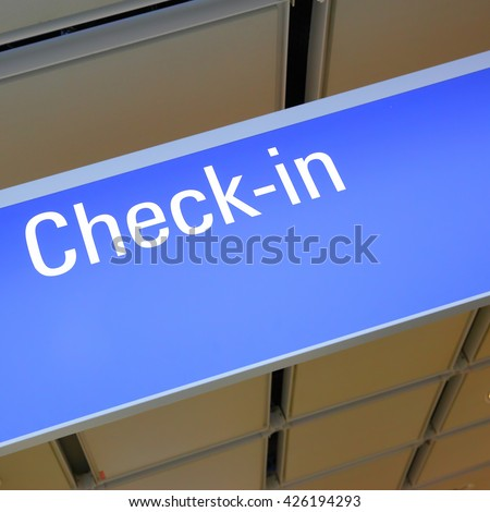 Check-in sign in an airport