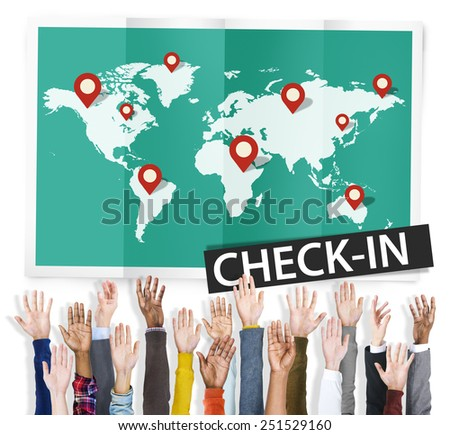 Check In Travel Locations Global World Tour Concept - stock photo