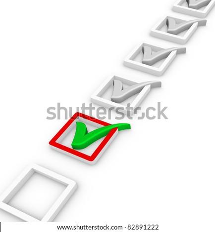 check list and green check mark - stock photo