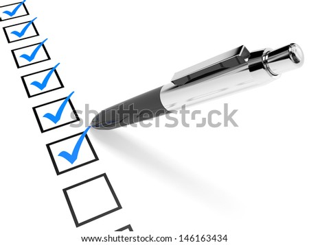 Check list. Blue ticks in checkboxes and pen. 3D illustration. - stock photo