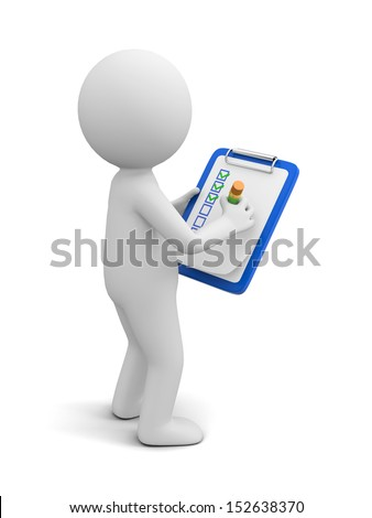 check list/3d people  with clipboard and checklist - stock photo