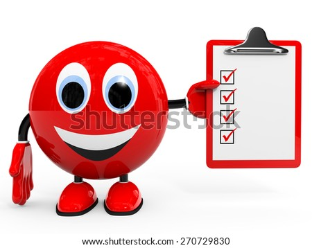 Check list. Illustration with 3d character. - stock photo