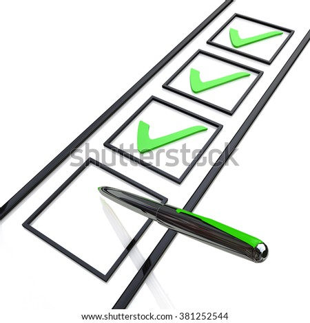 Check list in the design of the information related to the approval of the information