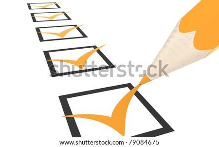 Check list. Orange - stock photo