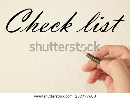 check list text write on wall  - stock photo