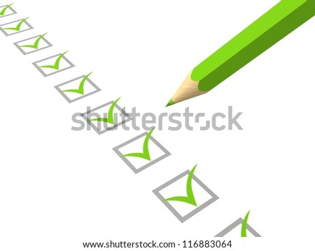 Check list with green pencil on white background - stock photo