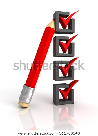 Check list with red pencil on white background. 3d render illustration