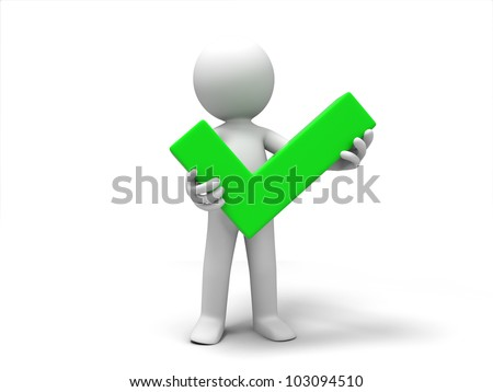 check mark/A 3d people was holding a check mark - stock photo